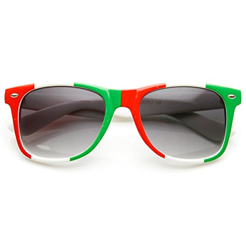 zeroUV - Classic Horn Rimmed Italy Mexican Flag Color Sunglasses - Sunglasses Mexico