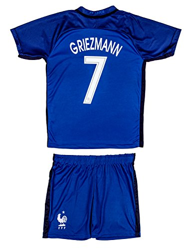 Soccer Youth Jersey Set ● France ● Home Jersey ● Euro 16 ● # 7 Griezmann (8-9 ages ● Large, Griezmann (Euro 16 Home)) (Soccer Jersey France)