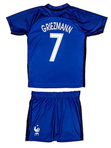 Soccer Youth Jersey Set ● France ● Home Jersey ● Euro 16 ● # 7 Griezmann (8-9 ages ● Large, Griezmann (Euro 16 Home)) (Jersey France Soccer)
