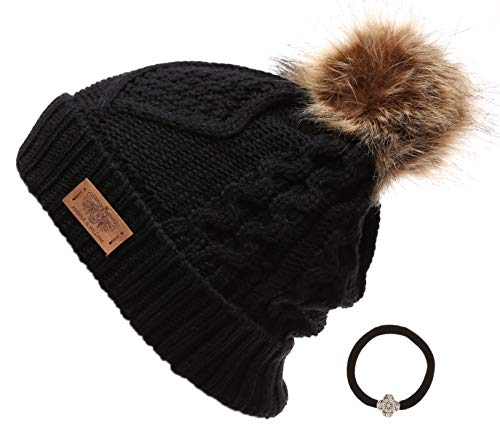 (Women's Winter Fleece Lined Cable Knitted Pom Pom Beanie Hat with Hair Tie.(Black) )