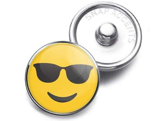 Sunglasses Cool Emoji Snap Jewelry 18MM Charm ()