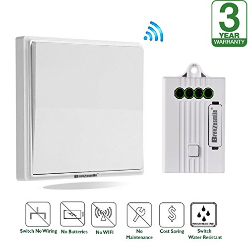 Outdoor Installation Kit (Wireless Lights Switch Kit, No Wiring No Battery, Quick Add or Remodel On / off Switch for Lights Lamps Fans Fixtures, Self-Powered Switch 100-520ft Remote Control House Lightning, Easy Installation)