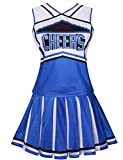 Colorful House Womens Cheerleader Costume Uniform Fancy Dress (Size M, Blue)