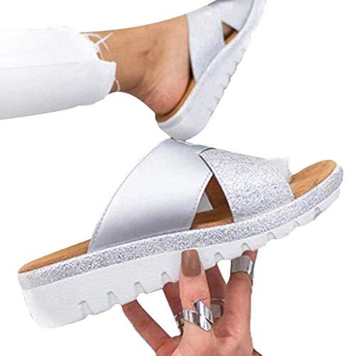 (Women's Flats Wedges Platform Sandals Comfy Open Toe Beach Travel Shoes Heel Massage Soft Bottom Non-Slip )