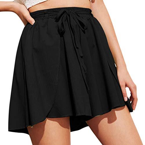 (Jumaocio Shorts Women High Elastic Waist Wide Leg Chiffon Culottes Shorts High Waist Straight Button Embellished Pocket Wide Leg Shorts Black)