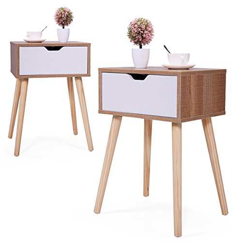 JAXSUNNY Mid-Century Side Table with Solid Wood Legs, Bedside Table Nightstand for Bedroom Set of 2, End Table w/ White Storage Drawer, 23.1″ H, Walnut