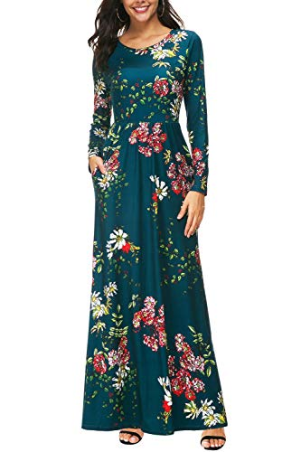 Zattcas Womens Long Sleeve Maxi Dress Floral Print Casual Long Dresses with Pockets …