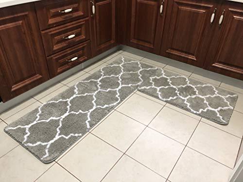 JusstMix Kitchen Rug Kitchen mat Bathroom Rugs Bath mat Luxury Extra Thick Microfiber Non-Slip Floor mat 2 Pieces Set 20