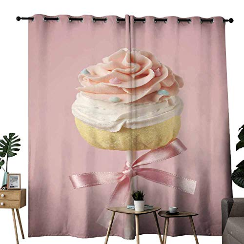duommhome Decorative CurtainsforLivingRoom Colorful Cupcake pops on Pink Darkening and Thermal Insulating W72 x L96 -
