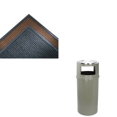 Indoor Wiper Scraper Mat (KITCWNSSR310CHRCP818288BEI - Value Kit - Crown Mats SS310CHA Super-Soaker Indoor Wiper/Scraper Mat, 36 x 120, Charcoal (CWNSSR310CH) and Ash/Trash Classic Container w/o Doors, Round, 25 gal, Beige (RCP818288BEI))