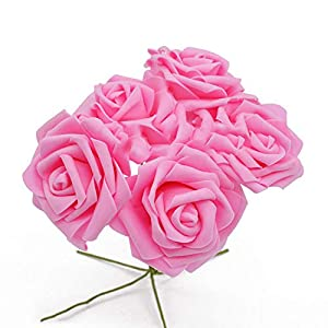 peals Artificial Rose Flower Wedding Bridal Bouquet Home Decor Rose Scrapbooking Supplies,Pink 64