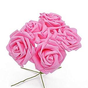 peals Artificial Rose Flower Wedding Bridal Bouquet Home Decor Rose Scrapbooking Supplies,Pink 13