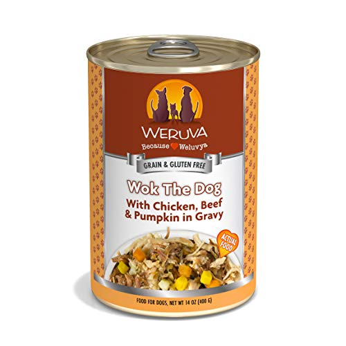Weruva Classic Dog Food, Wok The Dog With Chicken Breast, Beef & Pumpkin In Gravy, 14Oz Can (Pack Of 12)