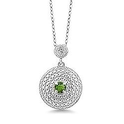 Round Green Tourmaline White Diamond Pendant