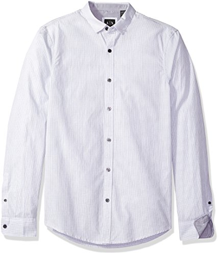 - A|X Armani Exchange Men's Poplin Long Sleeve Button Up Woven, White Check, Small