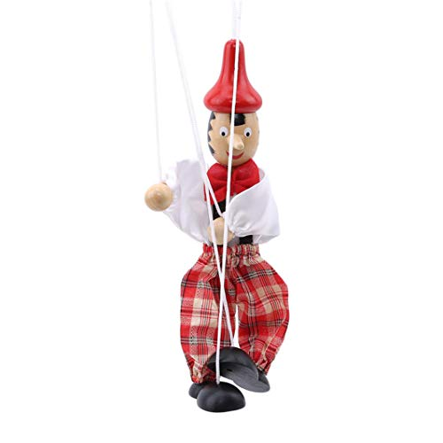 YouCY Pull String Puppet Clown Marionette Crafts Toy Doll Vintage Kids Children Gift(Color Random)