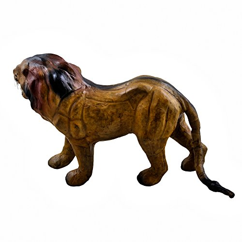 Independence Day Sale!! Standing Lion Forest Statue Leather Stuffed 7.5 Inches, Brown – Handmade Arts and Crafts for Living Room / Office / Bedroom / …