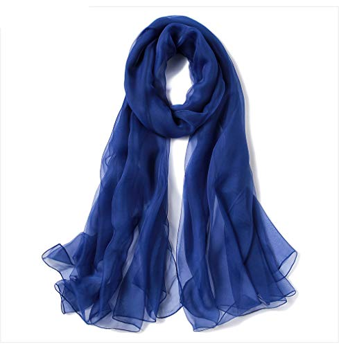 - Solid Color Linen Silk Scarf,Super Large Fashion Scarf,Can Be Used as Shawl,Beach Scarf and Wrap-Royal Blue