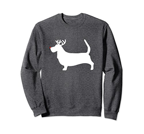 Basset Hound Christmas - Unisex Basset Hound Reindeer Christmas Dog Sweatshirt XL Dark Heather