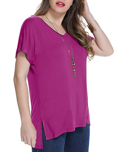 JollieLovin Women's Short Sleeve T Shirt V Neck Loose Tops with Side Split (Fushia M)