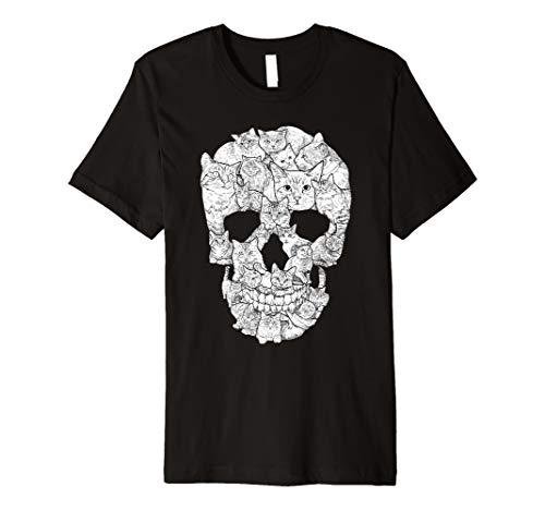 Cat Skull T-Shirt - Kitty Skeleton Halloween Costume Idea Premium T-Shirt -