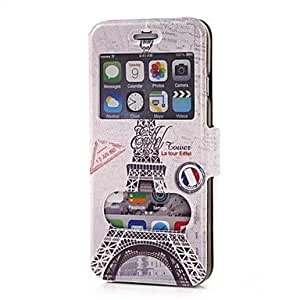 QYF The Tower Pattern Dual Double View Window PU Full Body Case for iPhone 6