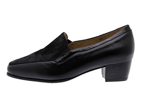 Woman comfort leather shoes PieSanto 175115 Moccasin wide Negro (Black) CtsTWyZ