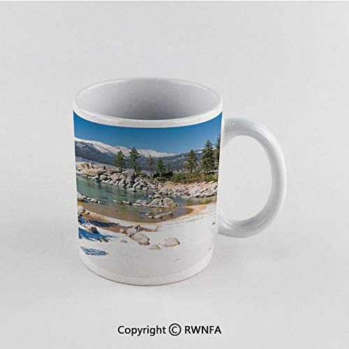 11oz Unique Present Mother Day Personalized Gifts Coffee Mug Tea Cup White Lake,Circle Lake Harbor Surrounded by Snowy Mountain Countryside Relax Treatment Photo Decorative,Green Blue Funny Ceramic C