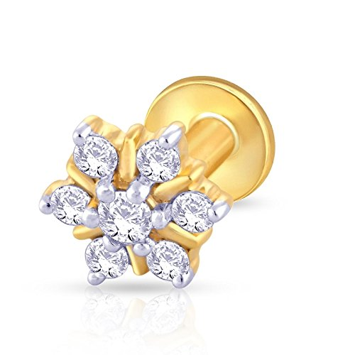 KuberBox 14k Yellow Gold Diamond Nose Pin Nose Rings & Pins at amazon