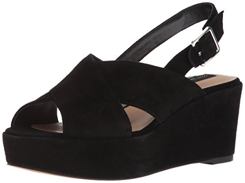 STEVEN by Steve Madden Women's SOL Heeled Sandal, Black Suede, 10 M US