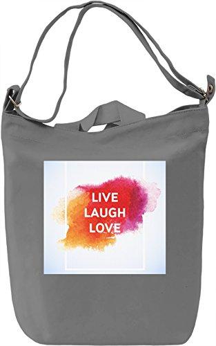 Live Laugh Love Print Borsa Giornaliera Canvas Canvas Day Bag| 100% Premium Cotton Canvas| DTG Printing|