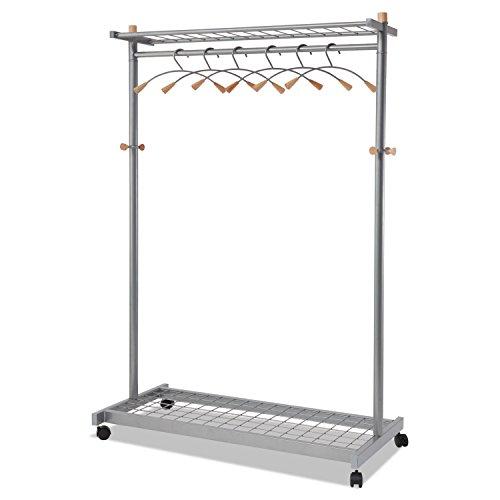 Alba PMLUX6 Garment Racks, Two-Sided, 2-Shelf Coat Rack, 6 Hanger/6 Hook, Silver (Sided 2 Shelf Steel Garment)