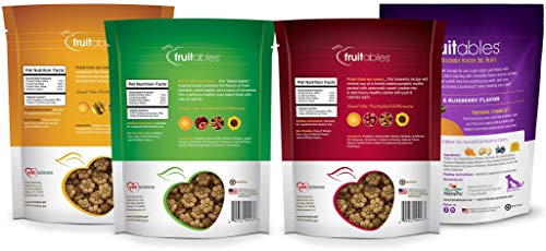 Fruitables All Natural 7 Ounce Pumpkin Baked Crunchy Dog Treats, Variety Pack of 4