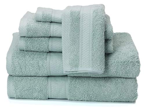 Ariv Collection Premium Bamboo Cotton 6-Piece Towel Set (2 Bath Towels, 2 Hand Towels and 2 Washcloths) - Natural, Ultra Absorbent and Eco-Friendly (Duck Egg) - BEST VALUE: Set includes two bath towels (30 inch x 52 inch), two hand towels (16 inch x 28 inch), and two washcloths (12 inch x 12 inch) (NOW AVAILABLE IN 100% COTTON 8 PIECE SET - Click 'Ariv Collection' hyperlink above) Woven with a blend of High Quality Bamboo & Cotton for Softness, Absorbency, Strength, and Durability Bamboo fiber is Mildew-resistant, Odor Resistant, Soft and Light-weight. - bathroom-linens, bathroom, bath-towels - 41JwTZmRAHL -