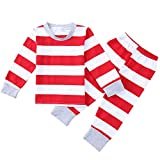 Kamendita Christmas Family Matching Boys Girls Pajamas PJs Set Christmas Pajamas Striped Casual Sleepwear Shirt Sets