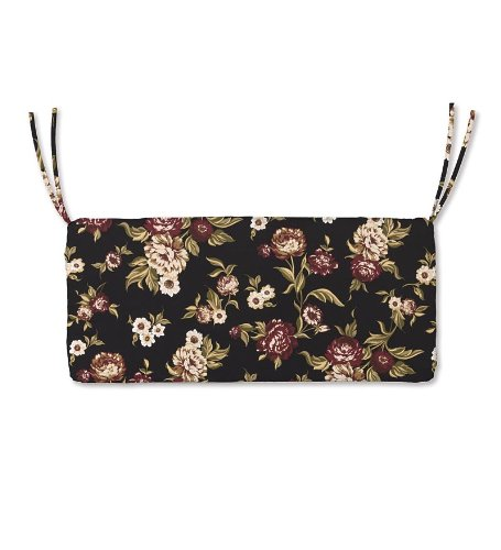 Weather-Resistant Outdoor Classic Swing/Bench Cushion in Black Floral