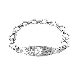 Divoti Custom Engraved Elegant Olive Medical Alert Bracelet -Open Heart Stainless -White