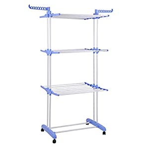 Homgrace 3-Tier Foldable Rolling Clothes Drying Rack with Commercial Grade Wheels Stainless Steel Dryer Garment Hanger Stand Indoor Outdoor (blue)