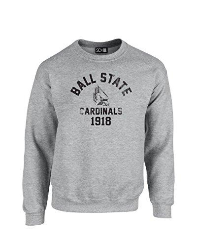 NCAA Ball State Cardinals Mascot Block Arch Crew Neck Sweatshirt, Small, Sport Grey -