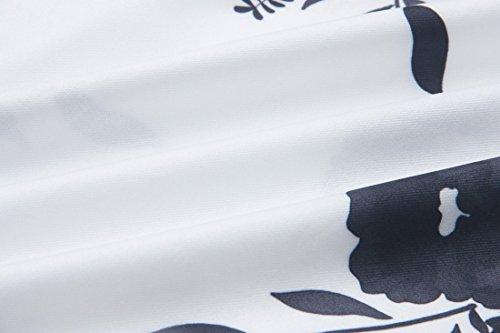 QIYUN.Z Las Mujeres De Moda Cuello Cuello Cuerno Manga Floral Impreso Verano Vestido Sin Tirantes Negro