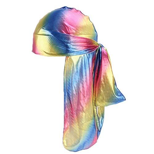 Fxhixiy Unisex Long Silk Bandana Turban Hat Wigs Doo Durag Biker Hair Headwrap Cap Pirate Cap 360 Waves -