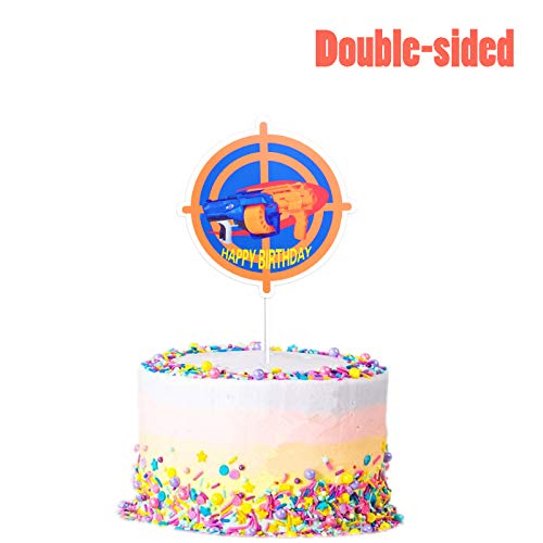 Target Cake Decorations (Cake Topper for Nerf Party, Target Gun Happy Birthday Decorations Party Cake Toppers for Nerf War Theme - Double)
