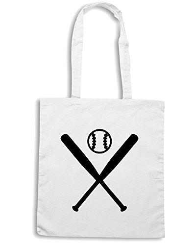 T-Shirtshock - Bolsa para la compra SP0135 Two Pitchers Baseball Maglietta Blanco