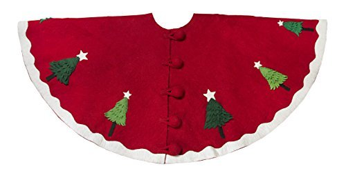 Arcadia Home T1R Multilayered Trees Christmas Tree Skirt, Red