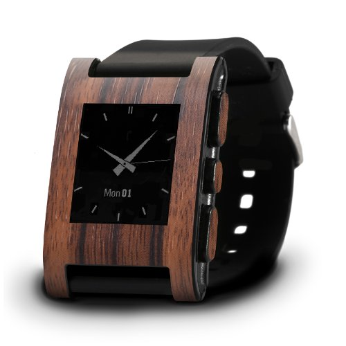 SlickwrapsPebble Watch Ebony Wood-Skin- Frustration-Free Packaging-Ebony Wood