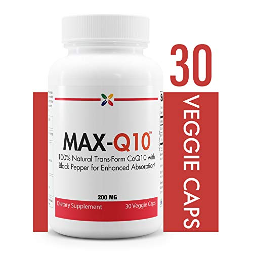 - Stop Aging Now  MAX-Q10TM CoEnzyme Q10 200 MG (CQ100WPT2)  100 percent Natural Trans-From CoQ10 with Black Pepper for Enhanced Absorption  30 Veggie Caps