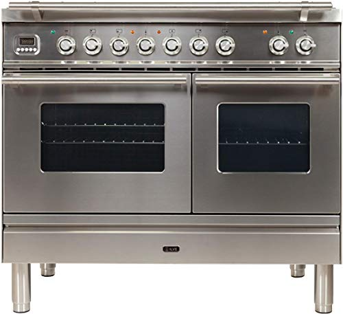 Ilve UPDW100FDMPI Pro Series 40 Inch Dual Fuel Convection Freestanding Range, 4 Sealed Burners, Double Ovens, 3.88 cu. ft. Total Oven Capacity in Stainless Steel (Natural Gas)