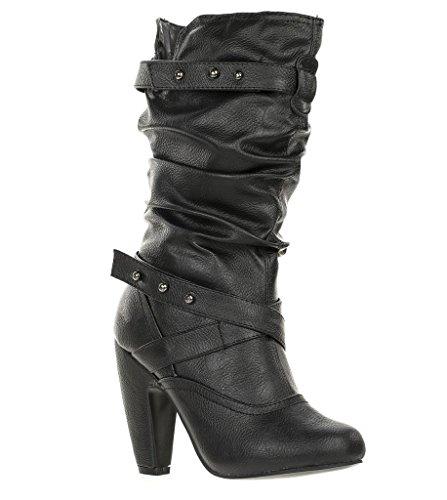 Bota De Tacón Alto Slouchy Mid Calf Para Mujer Mozza-06 Black