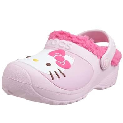 Crocs Hello Kitty Lined Custom Clog Kids Girls Footwear, Size: 3 M US Little Kid, Color: Bubblegum/Fuchsia