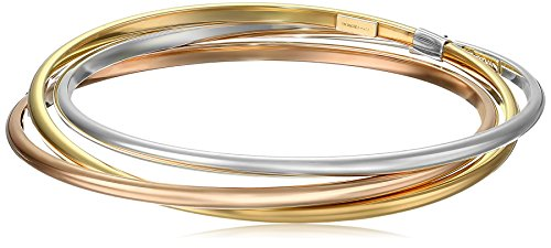 14k Gold-Bonded Sterling Silver Tri-Color Interlocking Bangle Bracelets, 8'' by Amazon Collection